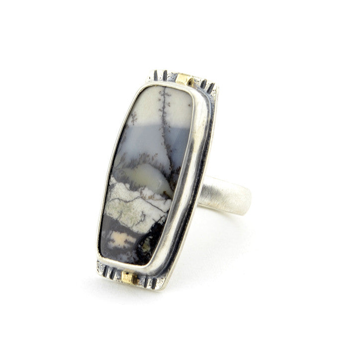 Amethyst Sage Scenic Ring Sterling Silver and 14k Yellow Gold - Size 7 Limited Edition