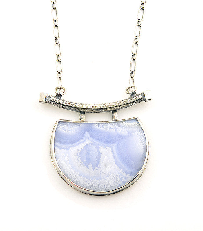 Blue Lace Agate and Sterling Silver Large Crescent Necklace