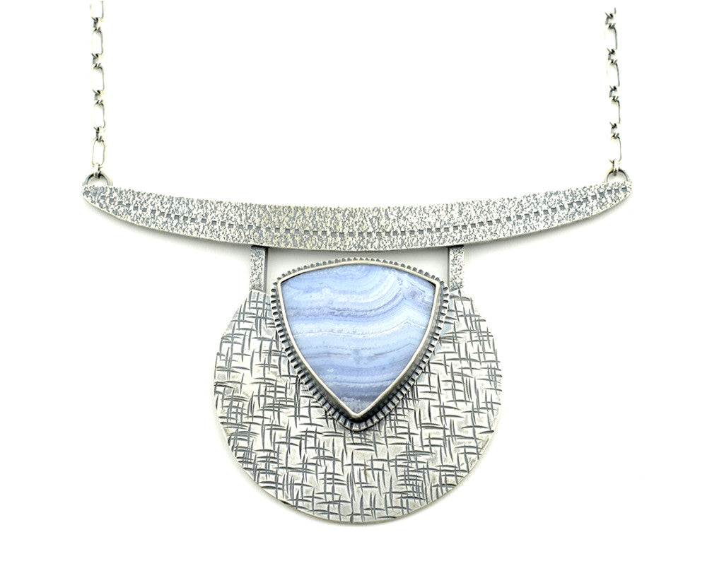 blue lace agate silver statement necklace