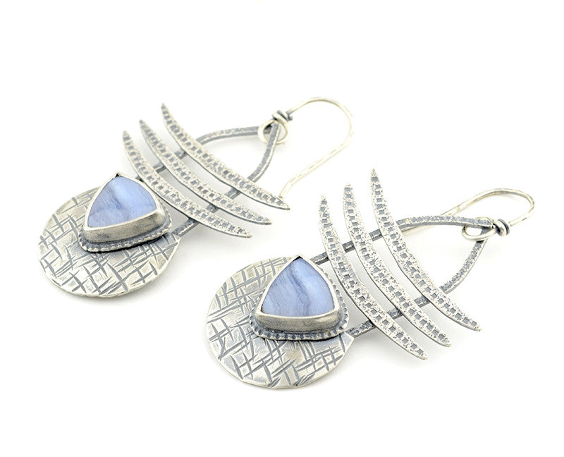 blue lace agate silver drop earrings