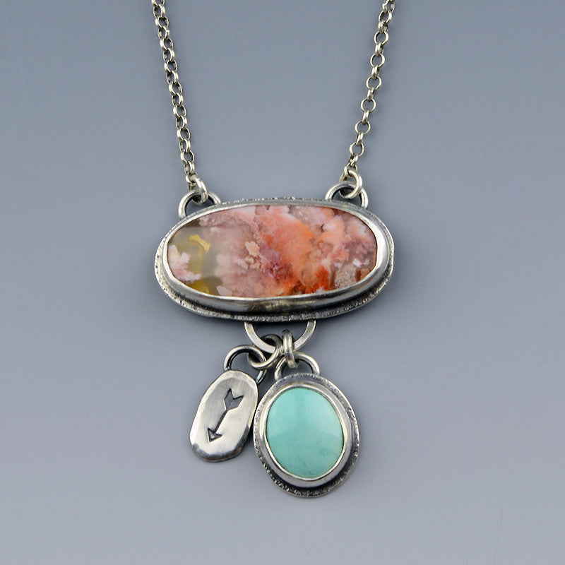 Feather Ridge Plume Agate and Turquoise Charm Necklace
