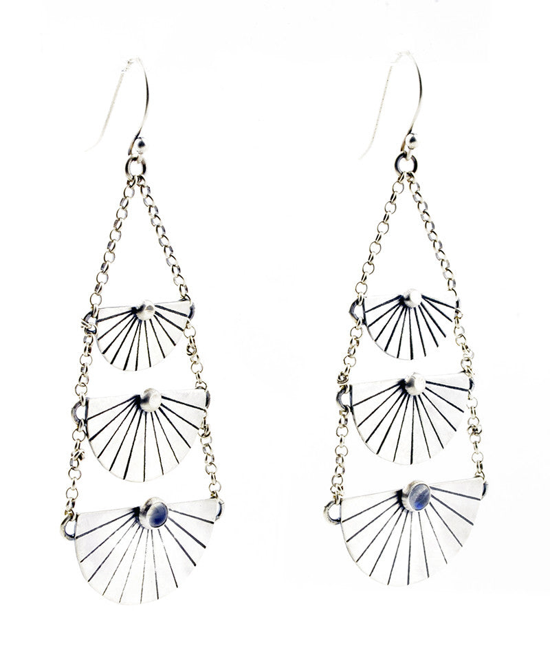 INDIGO SUN Tiered Drop Earrings with Rainbow Moonstone