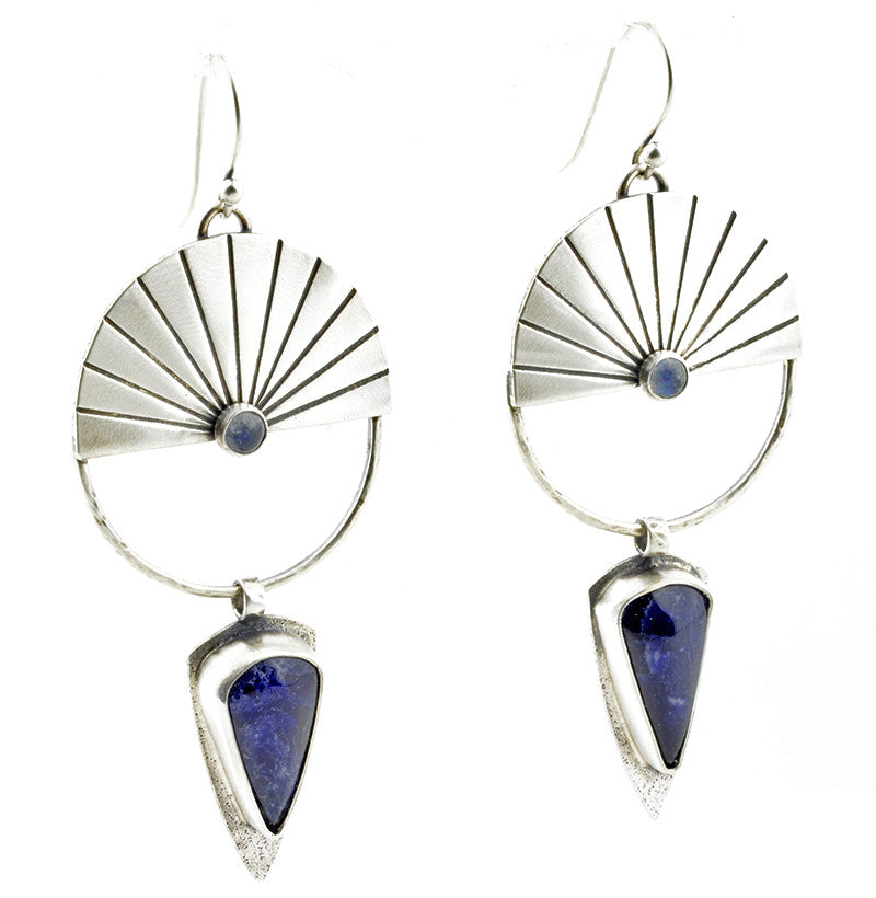 INDIGO SUN Drop Earrings with Sodalite Shields and Rainbow Moonstone