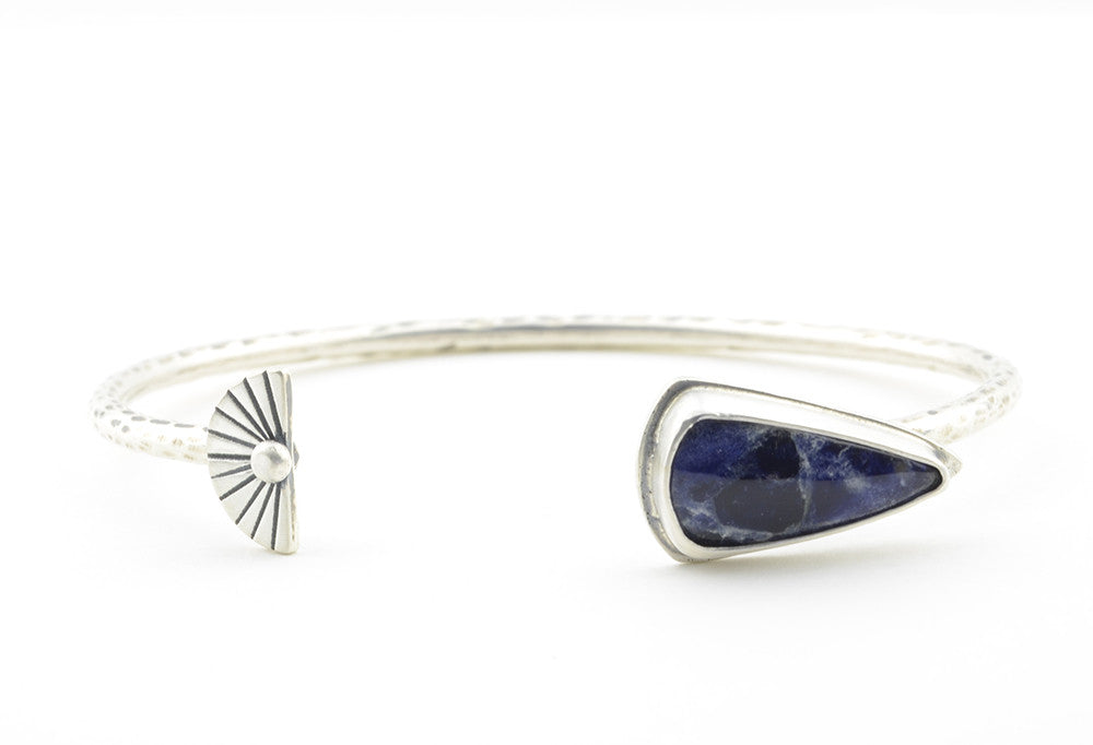 INDIGO SUN Open Cuff Bracelet with Sodalite Shield