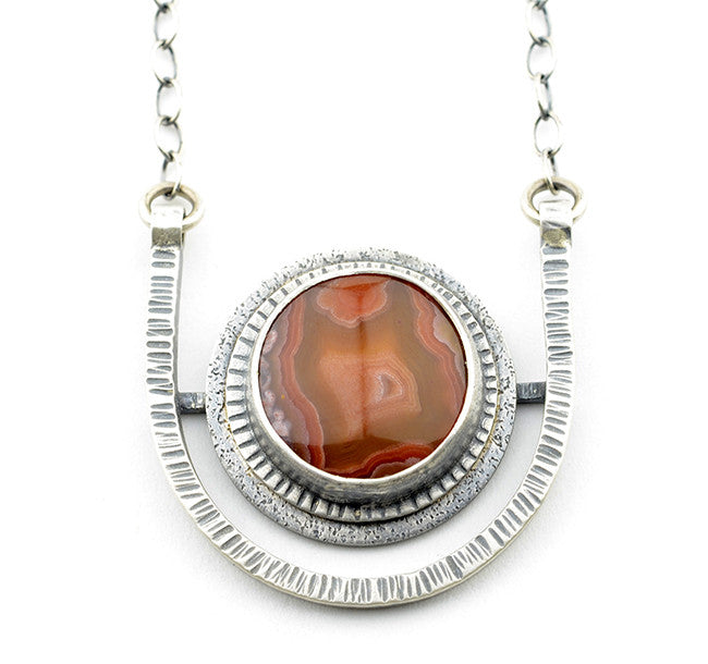 HORIZON DISC NECKLACE - Laguna Agate and Sterling Silver