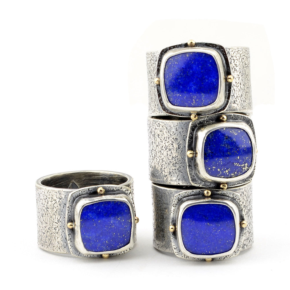 Lapis Wide Band Sterling and Gold Rings - Sz 6.5 and 7.5
