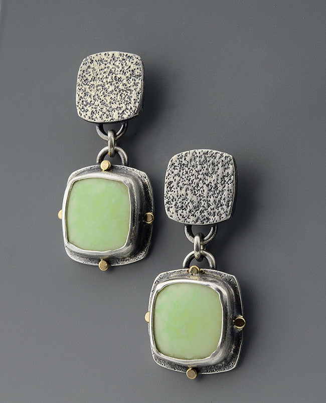 Lemon Chrysoprase Silver and 14k Gold Earrings