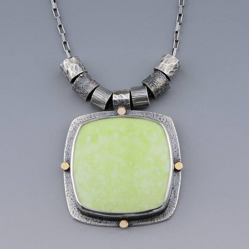 Lemon Chrysoprase Silver and 14k Gold Necklace