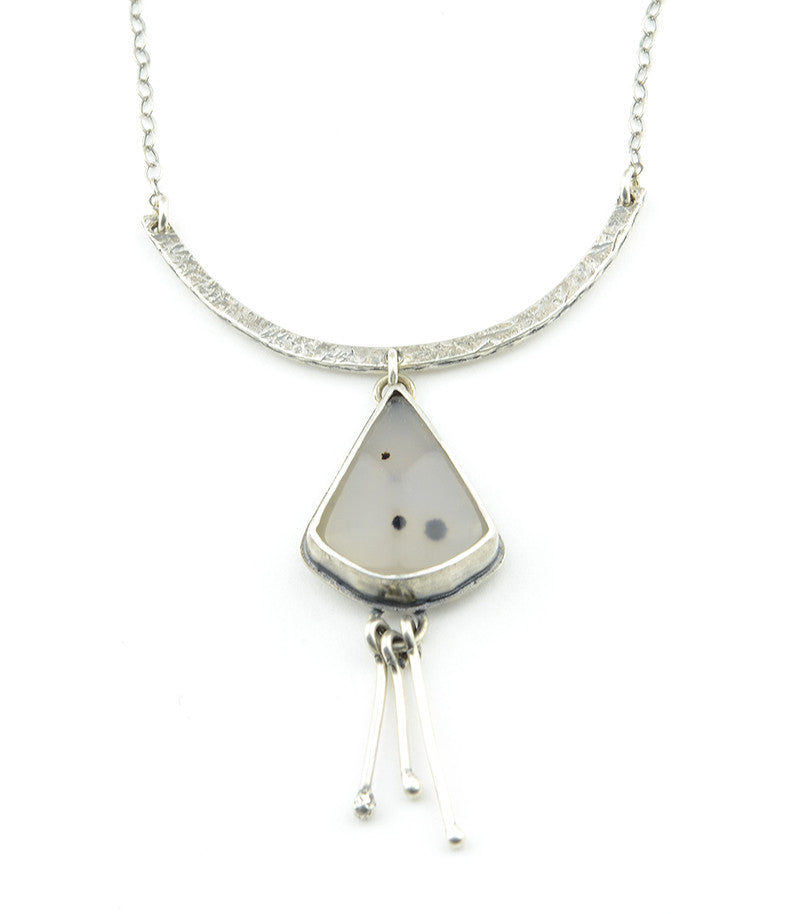 Montana Agate Silver Triangle Drop Necklace