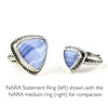 NARA Blue Lace Agate Sterling Silver Statement Cabochon Ring