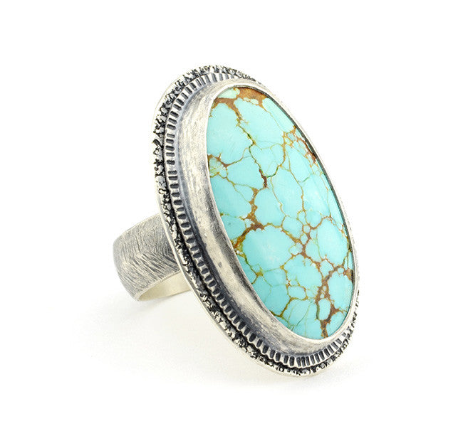 Nevada Number Eight Turquoise Silver Statement Ring - Size 9 Limited Edition