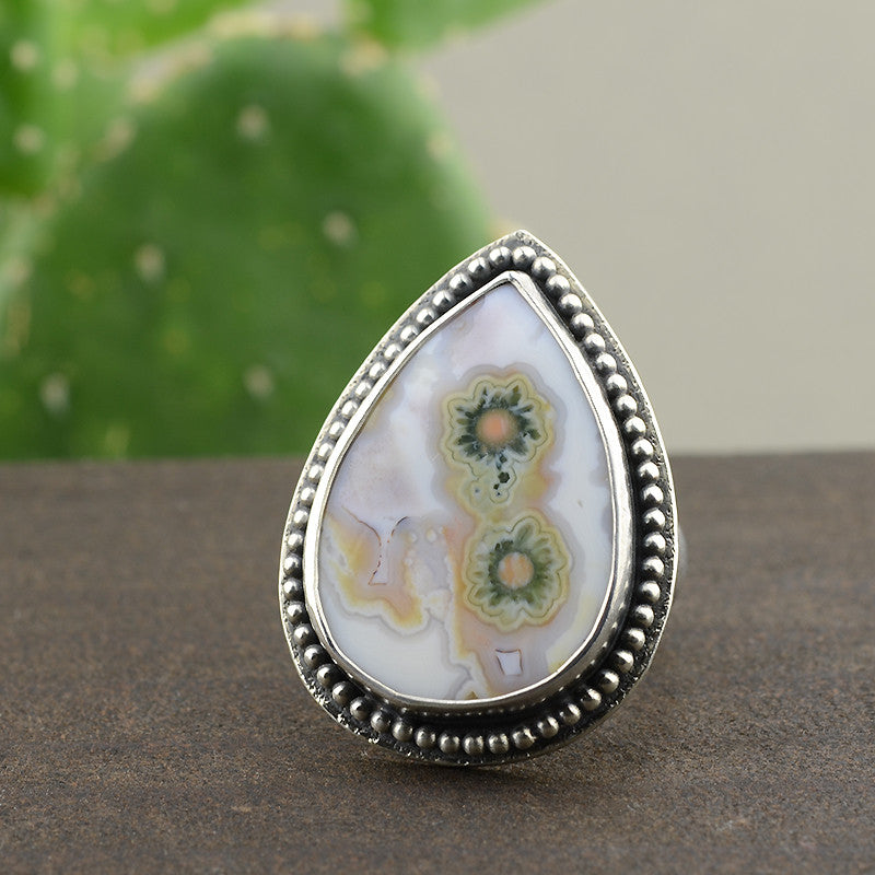 Ocean Jasper Statement Ring - Size 8