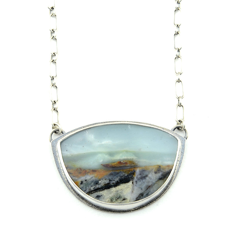 """Oceanside"" British Columbia Ocean Stone Sterling Arc Necklace"