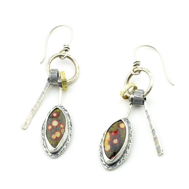"Guadalupe Poppy Jasper ""Organics"" Sterling Silver Drop Earrings"