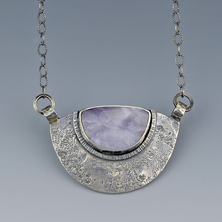 Purple Salvia Chalcedony Sterling Silver Necklace