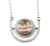 HORIZON DISC NECKLACE - Rhodochrosite and Sterling Silver