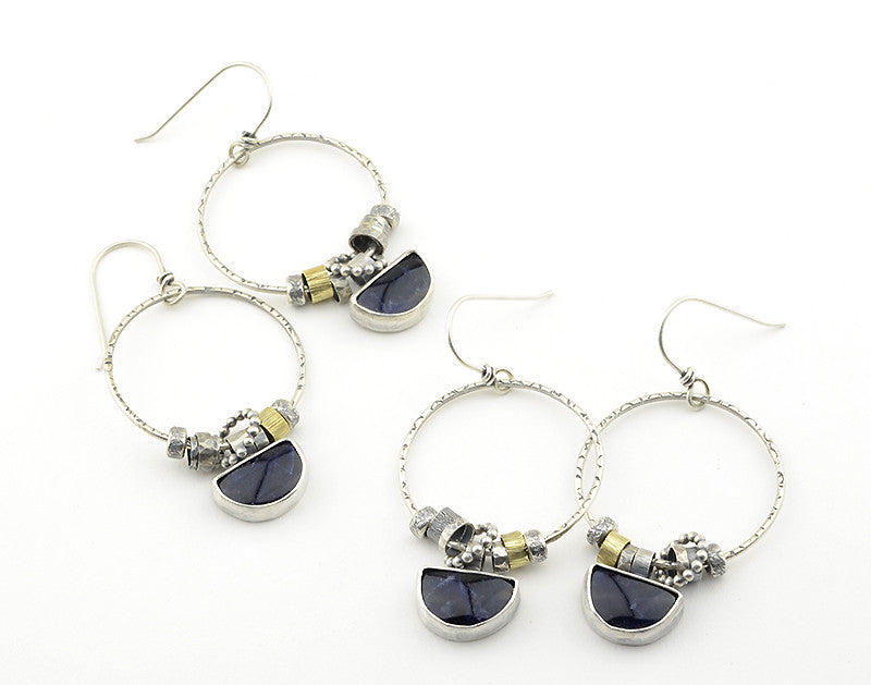 Sodalite Sterling Silver and Brass Drop Earrings