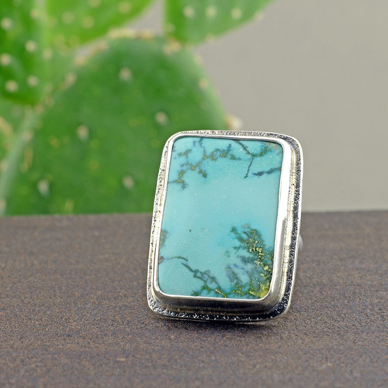 Turquoise Mountain Statement Ring - Size 7
