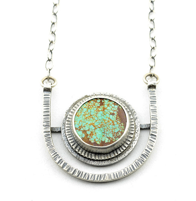 HORIZON DISC NECKLACE - Nevada No. 8 Turquoise and Sterling Silver
