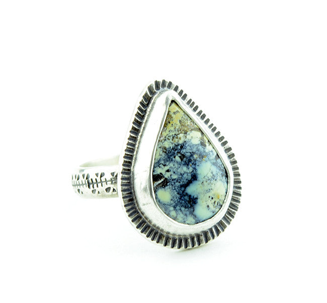 Variscite Pear Cabochon Ring - Size 6 Limited Edition