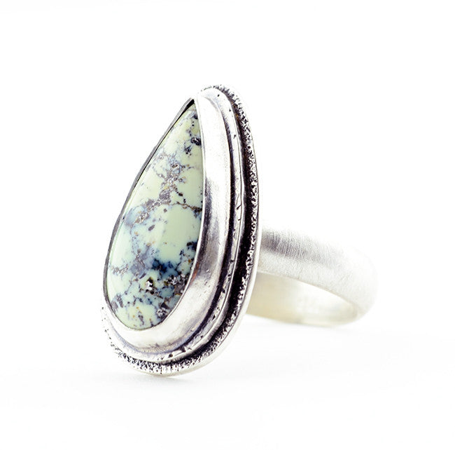 Variscite Ring Tall Pear - Size 7 Limited Edition