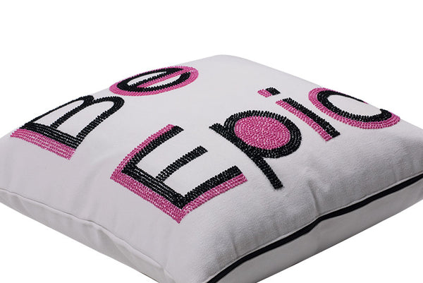 Be Epic Hand Embroidered And Beaded Throw Pillow Pink
