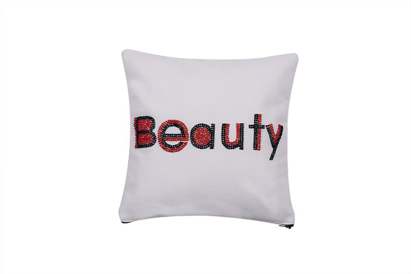 Beauty  Hand Embroidered And Beaded Throw Pillow Red