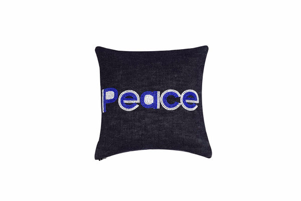 Peace  Hand Embroidered And Beaded  Throw Pillow Cobalt