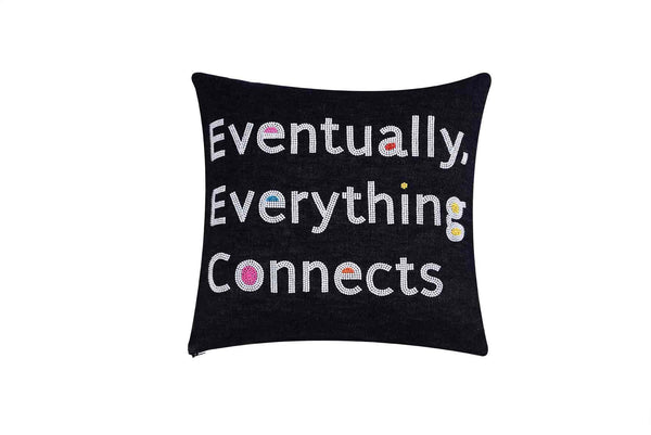 Eventually Everything Connects Hand Embroidered And Beaded Throw Pillow Multi