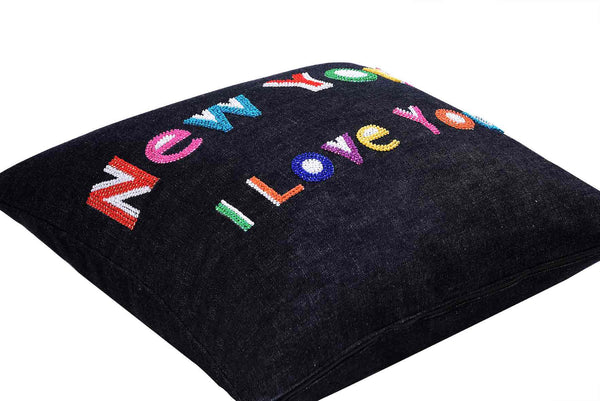 New York I Love You  Hand Embroidered And Beaded Throw Pillow Multi