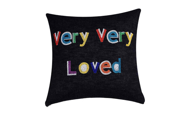 Very Very Loved  Hand Embroidered And Beaded Throw Pillow Multi