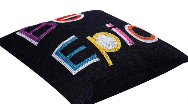 Be Epic Hand Embroidered And Beaded Denim Throw Pillow Multi