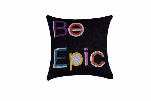 Be Epic Hand Embroidered And Beaded Denim Throw Pillow Multi + Beautiful Necklace