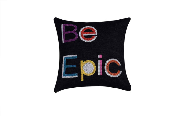 Be Epic Hand Embroidered And Beaded Throw Pillow Multi