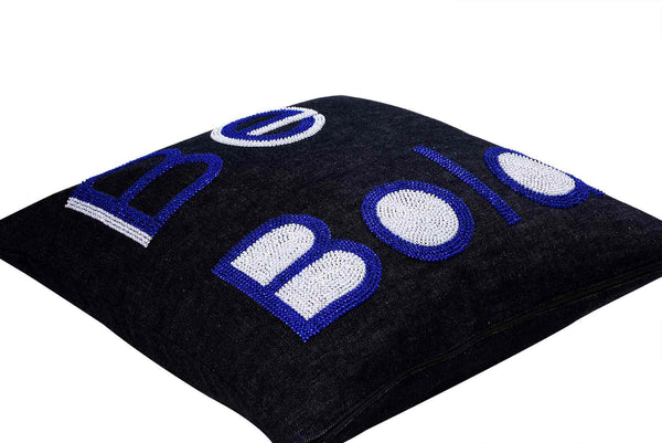 Be Bold  Hand Embroidered And Beaded Throw Pillow Cobalt