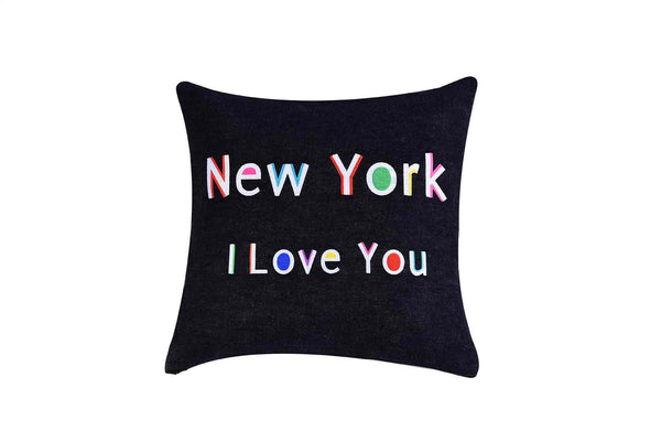 New York I Love You  Embroidered Throw Pillow Multi