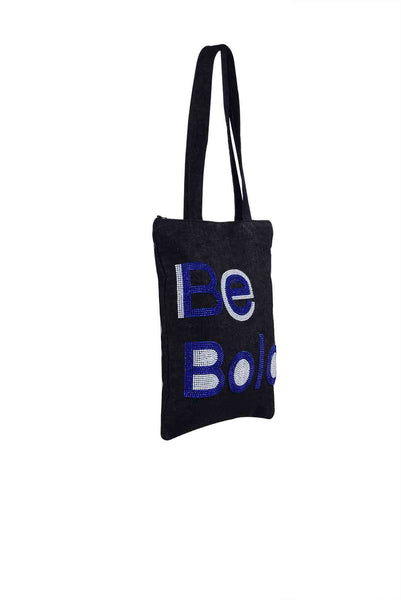 Be Bold  Hand Embroidered And Beaded  Tote Multi