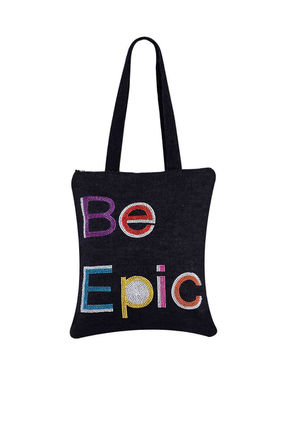 Be Epic  Hand Embroidered And Beaded  Tote Multi