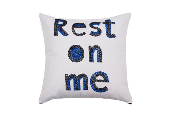Rest On Me  Hand Embroidered And Beaded  Throw Pillow Cobalt