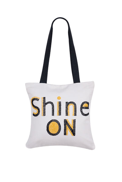 Shine On  Hand Embroidered And Beaded Tote Multi