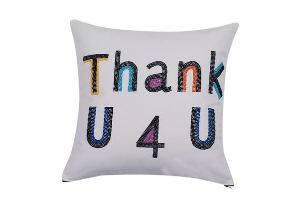 Thank U 4 U  Hand Embroidered And Beaded Throw Pillow Multi
