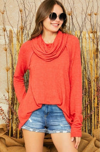 Bright Red Cowl Sweater