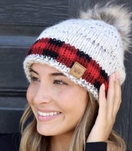 Pom Red Plaid Hat