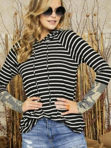 Black  & Ivory Stripe Camo Top