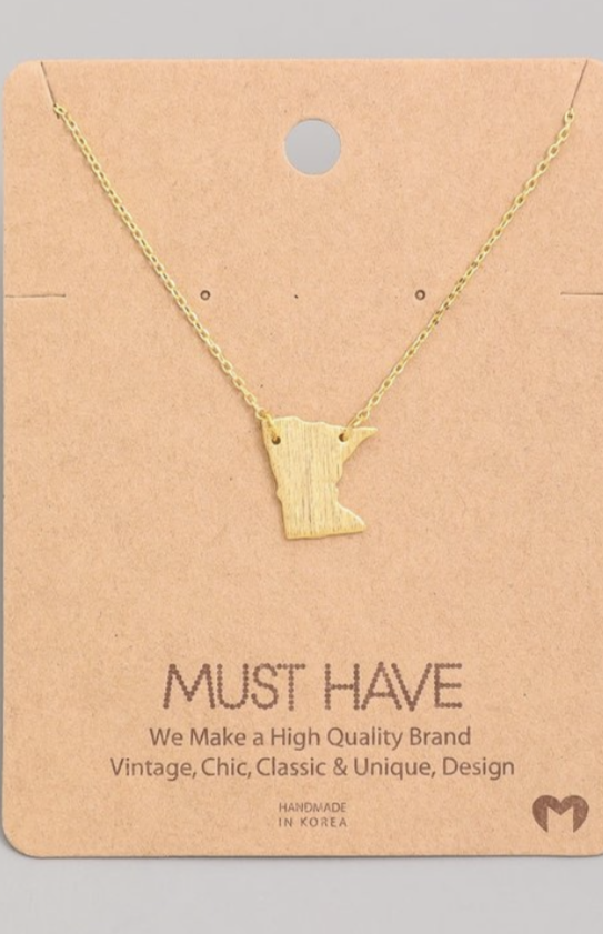 MN State Necklace - Gold