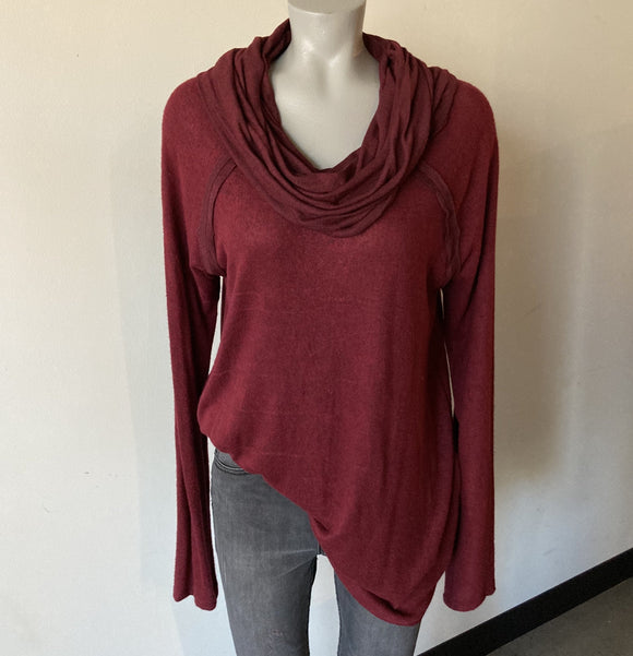 Burgundy Cowl Neck Sweater