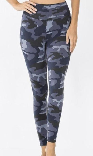 Brushed Microfiber Camouflage Wide Waistband Full Length Leggings