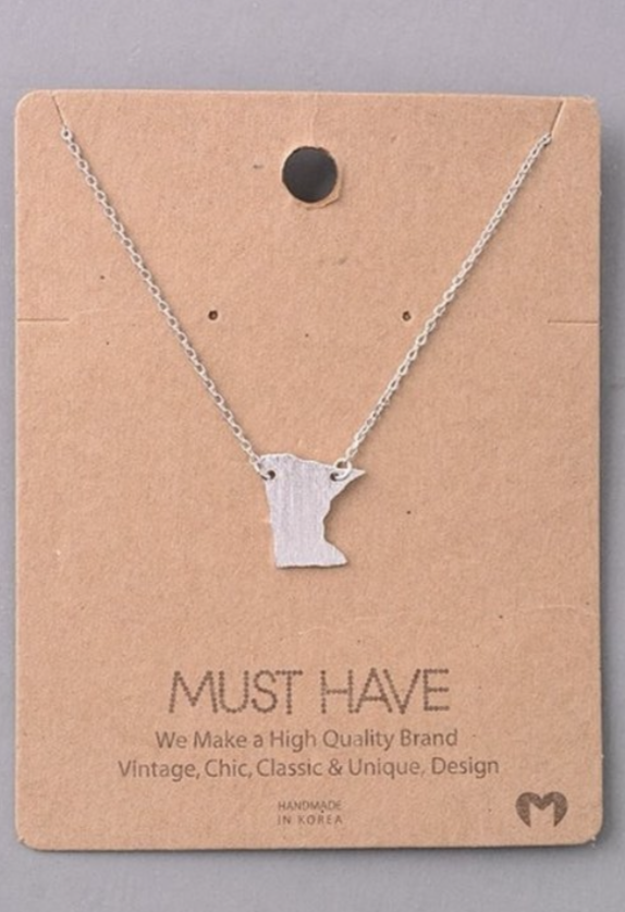 MN State Necklace - Silver