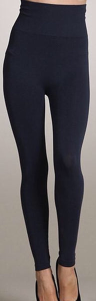 High Waisted Leggings - One Size, Regular Length (Ink)