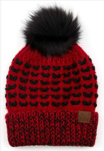 CC Pom Red and Black Hat